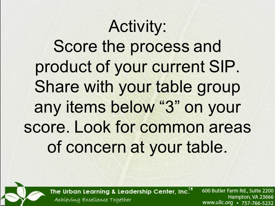 """Activity: Score the process and product of your current SIP. Share with your table group any items below """"3"""" on your score. Look for common areas of c"""