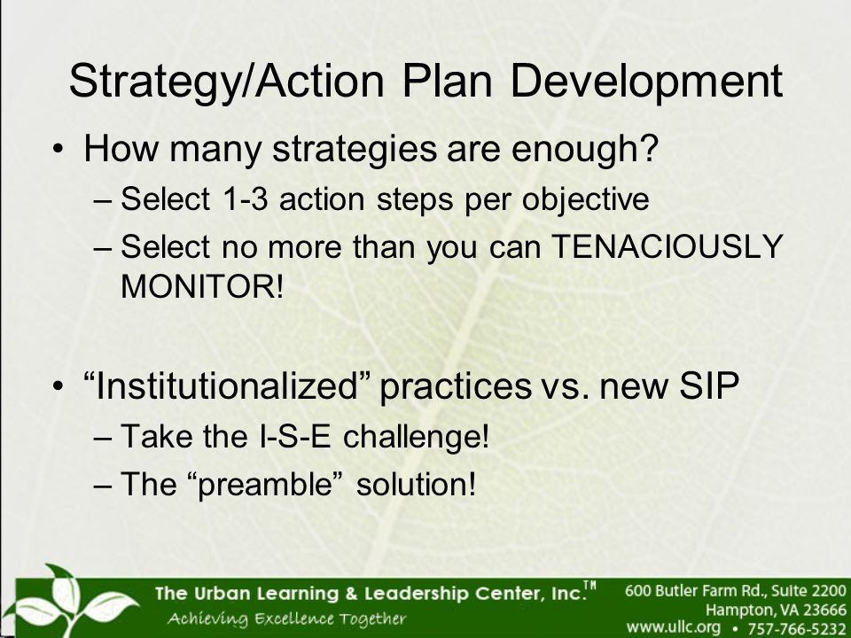 Strategy/Action Plan Development How many strategies are enough? –Select 1-3 action steps per objective –Select no more than you can TENACIOUSLY MONIT