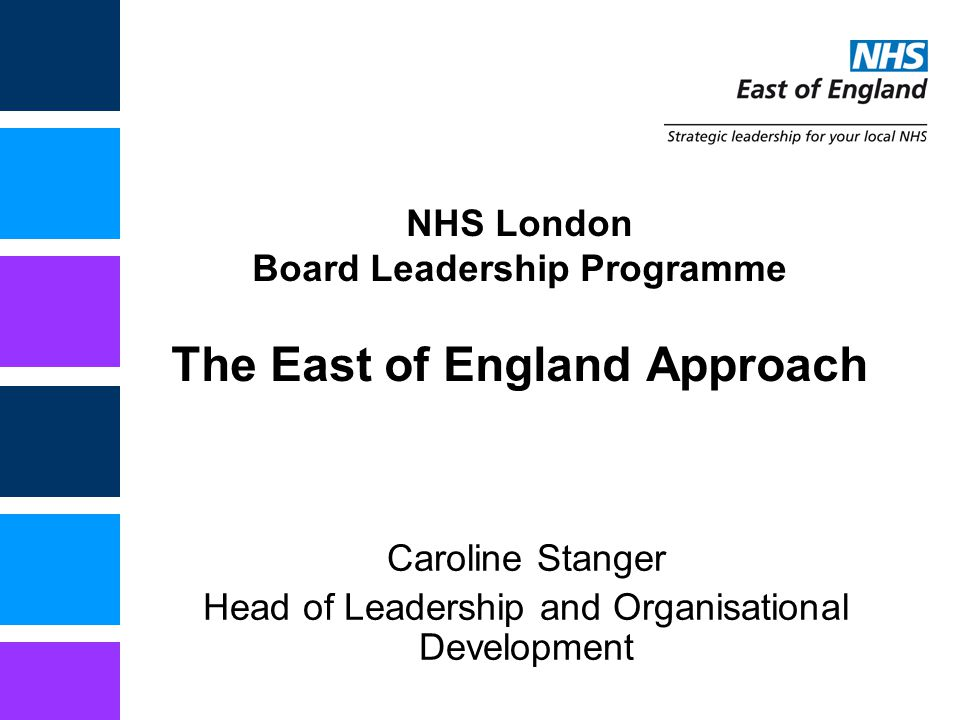 NHS London Board Leadership Programme The East of England Approach Caroline Stanger Head of Leadership and Organisational Development