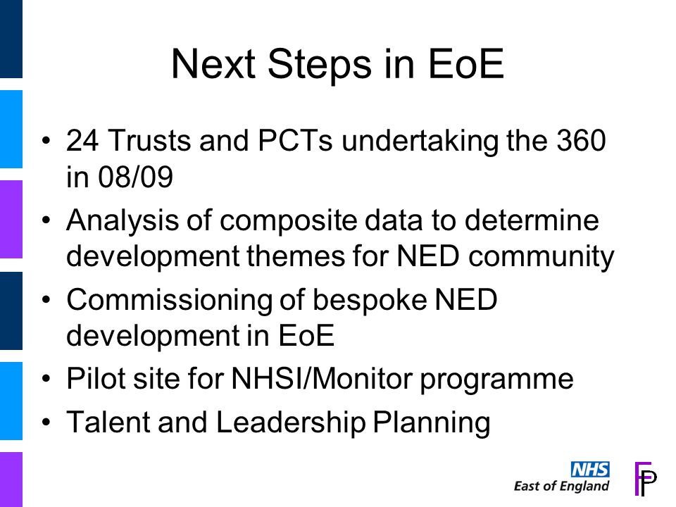 Talent & Leadership Plan (T&LP) Proof of Concept Phase (PoC) NHS Operating Requirement 2008/09 that SHAs and PCTs produce T&LPs – by 31 March 2009 EoE NHS one of four SHAs involved in T&LP Proof of Concept Phase May / June 2008 –with East Midlands, West Midlands & South West DH released T&LP Guidance Document to assist in building T&LPs – EoE NHS 'tested' the document The EoE NHS partnered with one PCT (Norfolk) and one Provider (Norfolk & Norwich University Hospitals NHS FT) for deep dive activity Project Team at SHA level included resources from Capgemini Background….