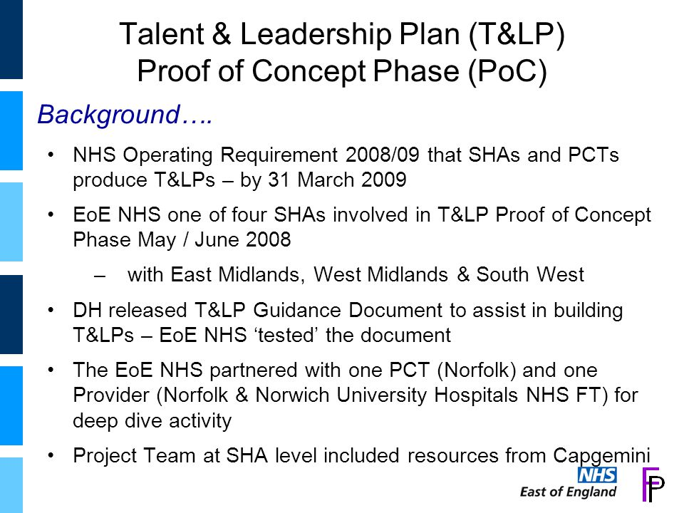 Talent & Leadership Plan (T&LP) Proof of Concept Phase (PoC) NHS Operating Requirement 2008/09 that SHAs and PCTs produce T&LPs – by 31 March 2009 EoE