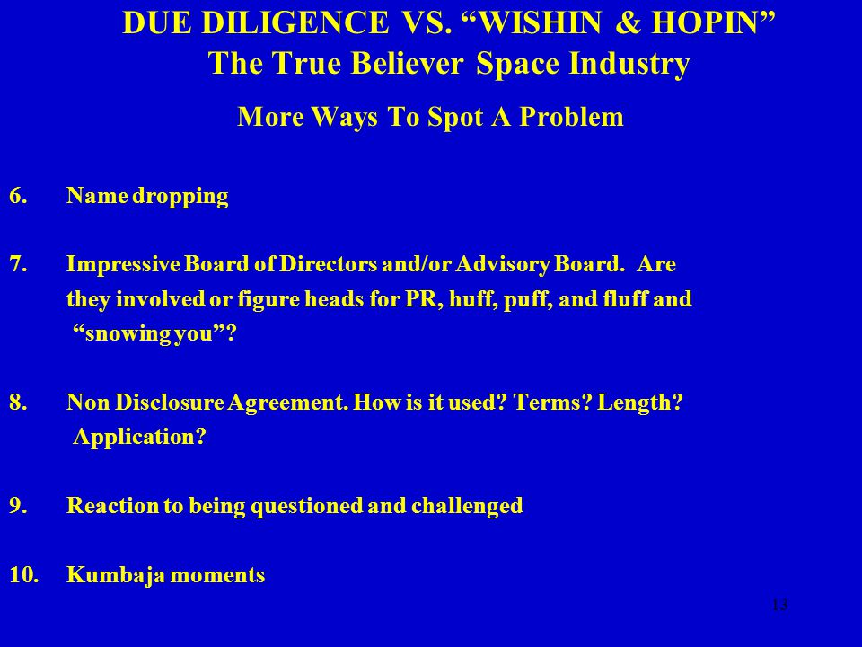 13 DUE DILIGENCE VS.