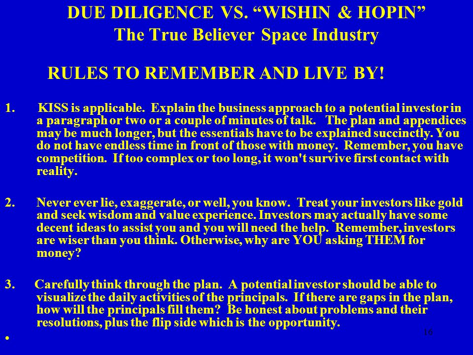 16 DUE DILIGENCE VS.