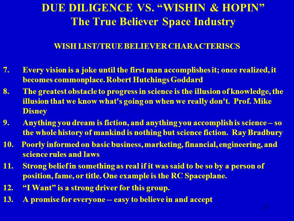 21 DUE DILIGENCE VS.
