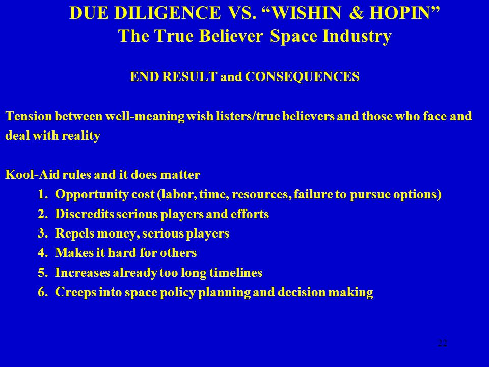 22 DUE DILIGENCE VS.