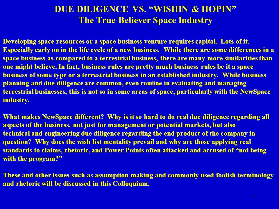 14 DUE DILIGENCE VS. WISHIN & HOPIN The True Believer Space Industry WHO CARES.