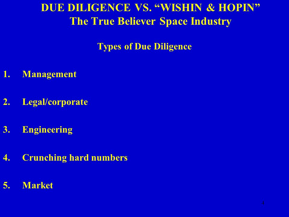 15 DUE DILIGENCE VS. WISHIN & HOPIN The True Believer Space Industry RECOMMENDATIONS 1.