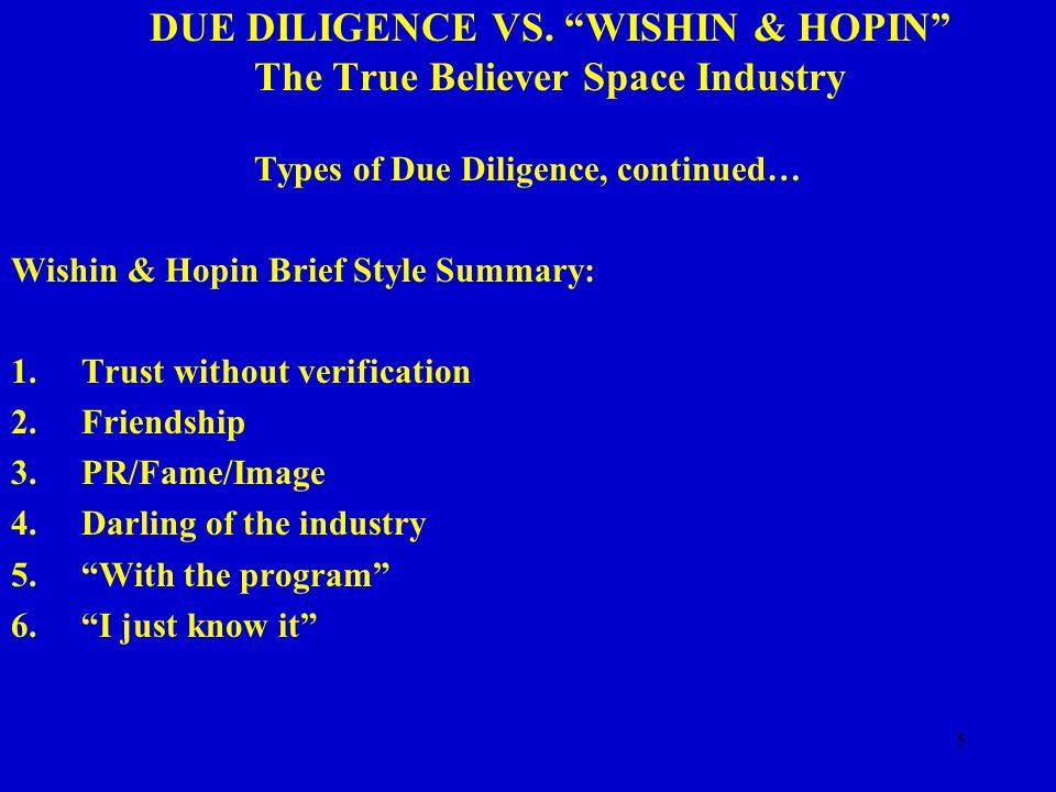 16 DUE DILIGENCE VS.