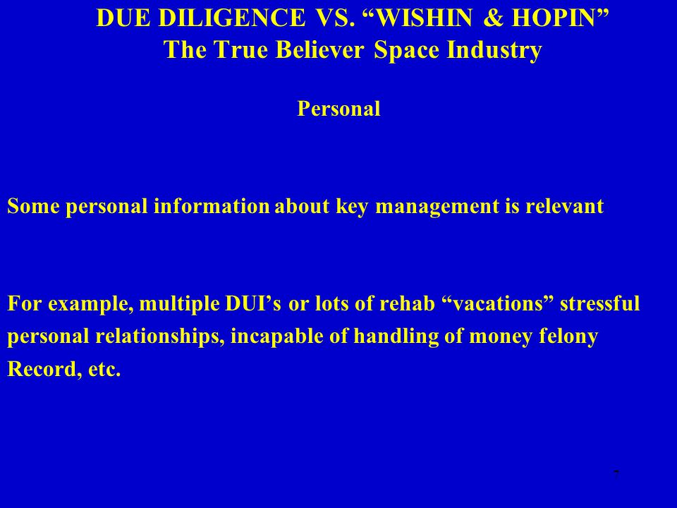 7 DUE DILIGENCE VS.