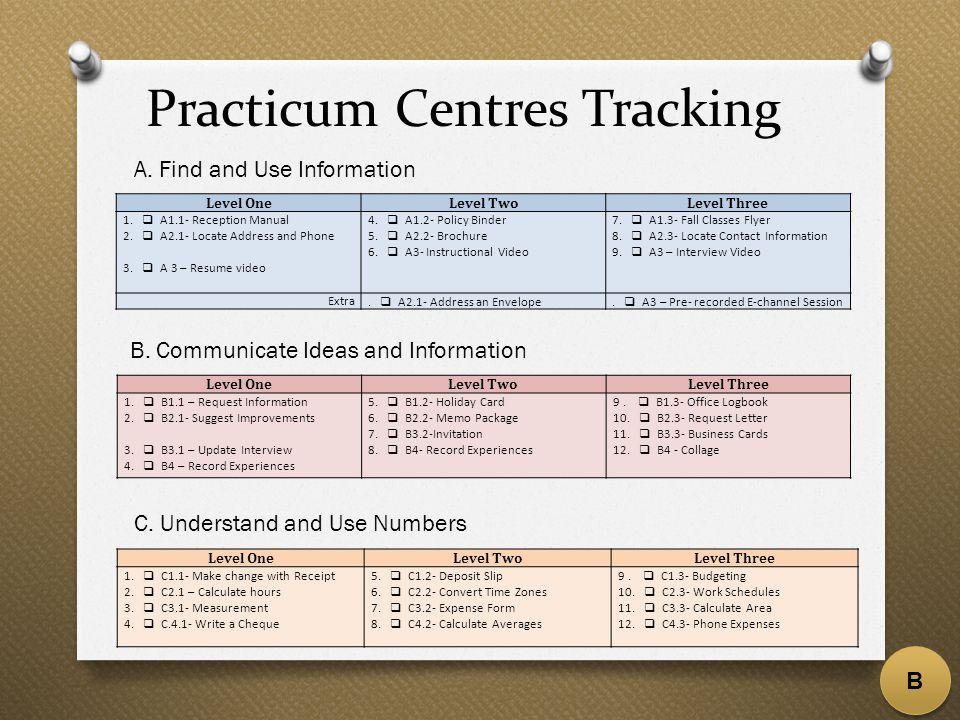 Practicum Centres Tracking Level OneLevel TwoLevel Three 1.