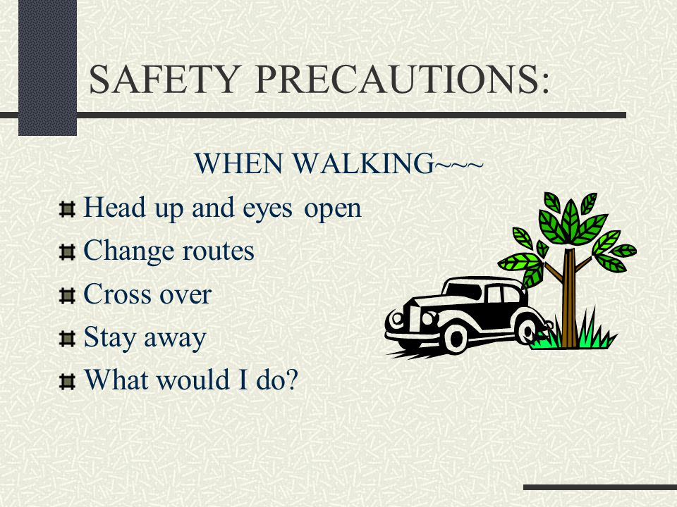 SAFETY PRECAUTIONS: WHEN WALKING~~~ Head up and eyes open Change routes Cross over Stay away What would I do