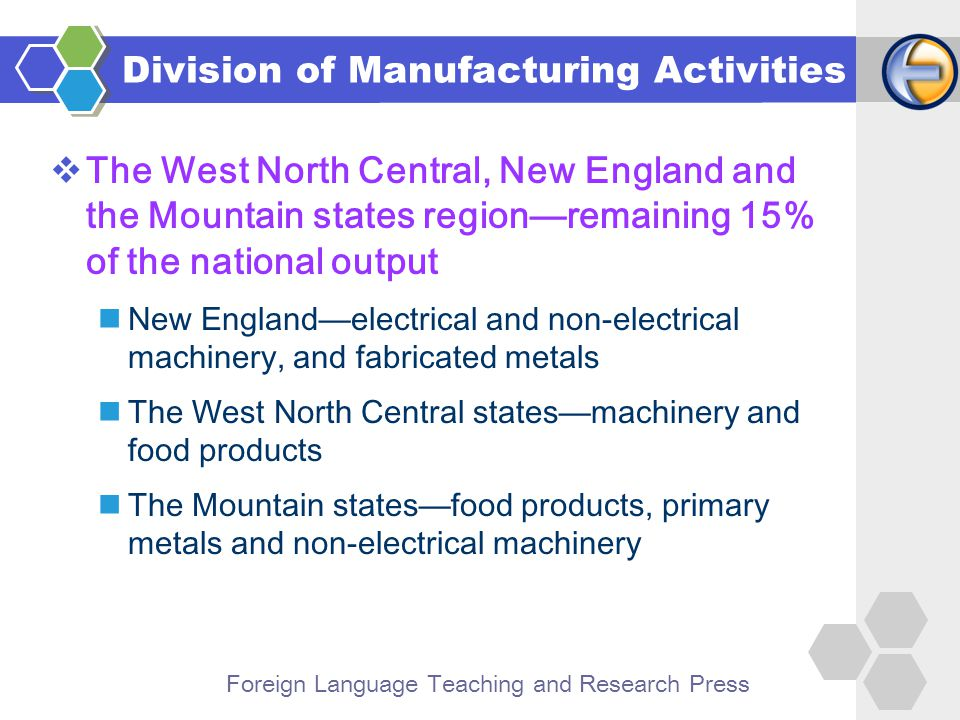 Foreign Language Teaching and Research Press  The West North Central, New England and the Mountain states region—remaining 15% of the national output New England—electrical and non-electrical machinery, and fabricated metals The West North Central states—machinery and food products The Mountain states—food products, primary metals and non-electrical machinery Division of Manufacturing Activities