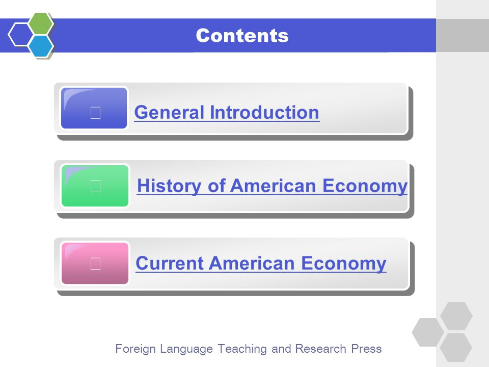 Foreign Language Teaching and Research Press  US—the current industrial, economic and technological giant  ranking first in computer technology, space technology, nuclear energy, and electronics, etc.;  producing a major portion of the world's machinery, automobiles, oil, electrical energy, and chemicals.