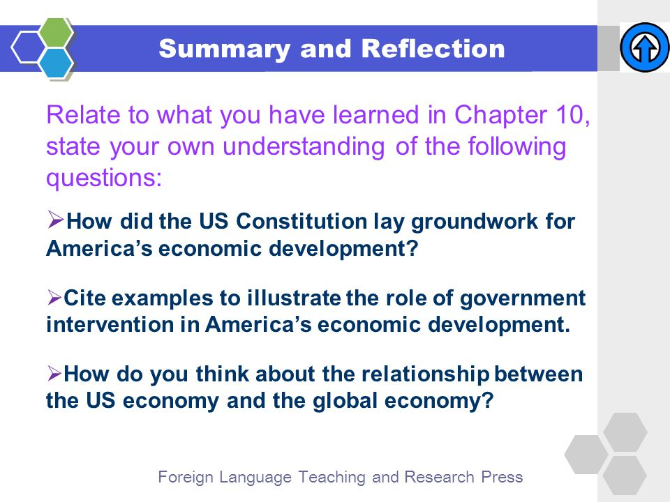 Foreign Language Teaching and Research Press Summary and Reflection Relate to what you have learned in Chapter 10, state your own understanding of the following questions:  How did the US Constitution lay groundwork for America's economic development.
