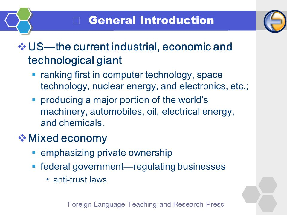 Foreign Language Teaching and Research Press II Current American Economy Agriculture 1 Manufacturing Industry 2 Service Industry 3 High-tech Industry 4 Foreign Trade 5