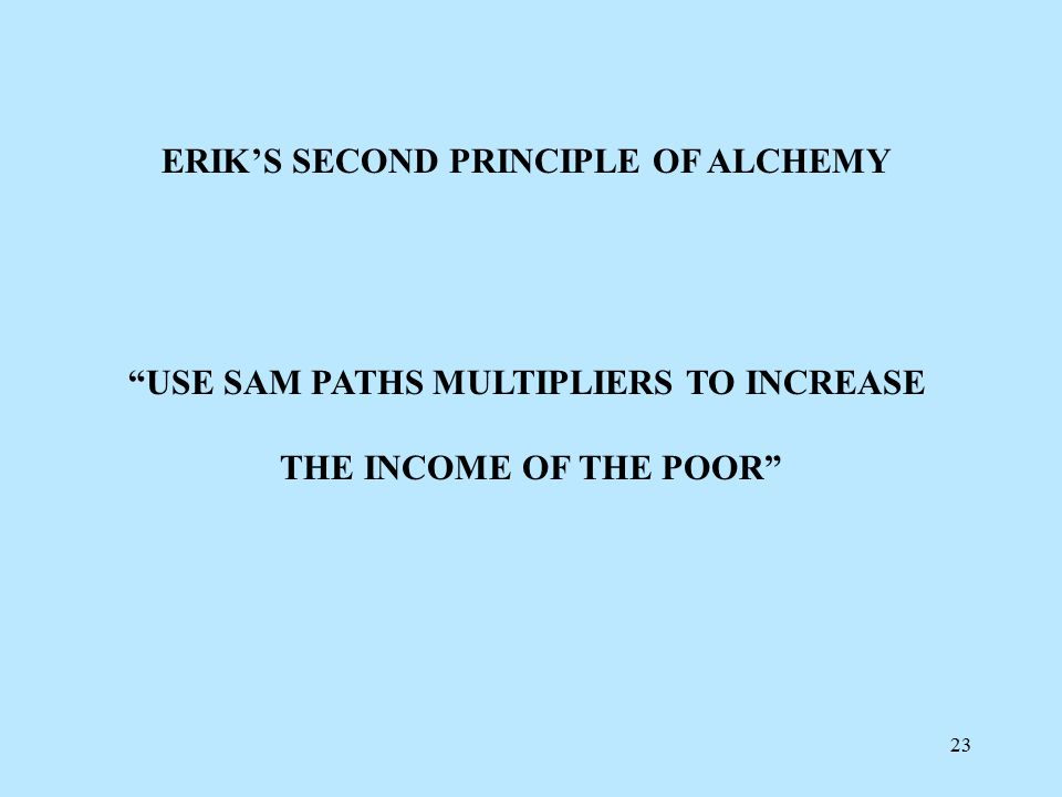22 ALCHEMIST'S OUTCOME OF THE P2-BASED WELFARE PROGRAM INITIAL Po = 50% CURRENT Po = 0% 88% OF THE FORMER POOR ARE NOW RICHER THAN THE 2% RICHEST IN THE COUNTRY