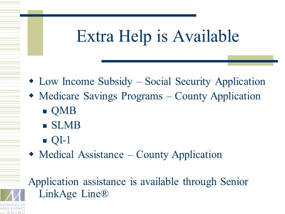 Extra Help is Available  Low Income Subsidy – Social Security Application  Medicare Savings Programs – County Application QMB SLMB QI-1  Medical Assistance – County Application Application assistance is available through Senior LinkAge Line®