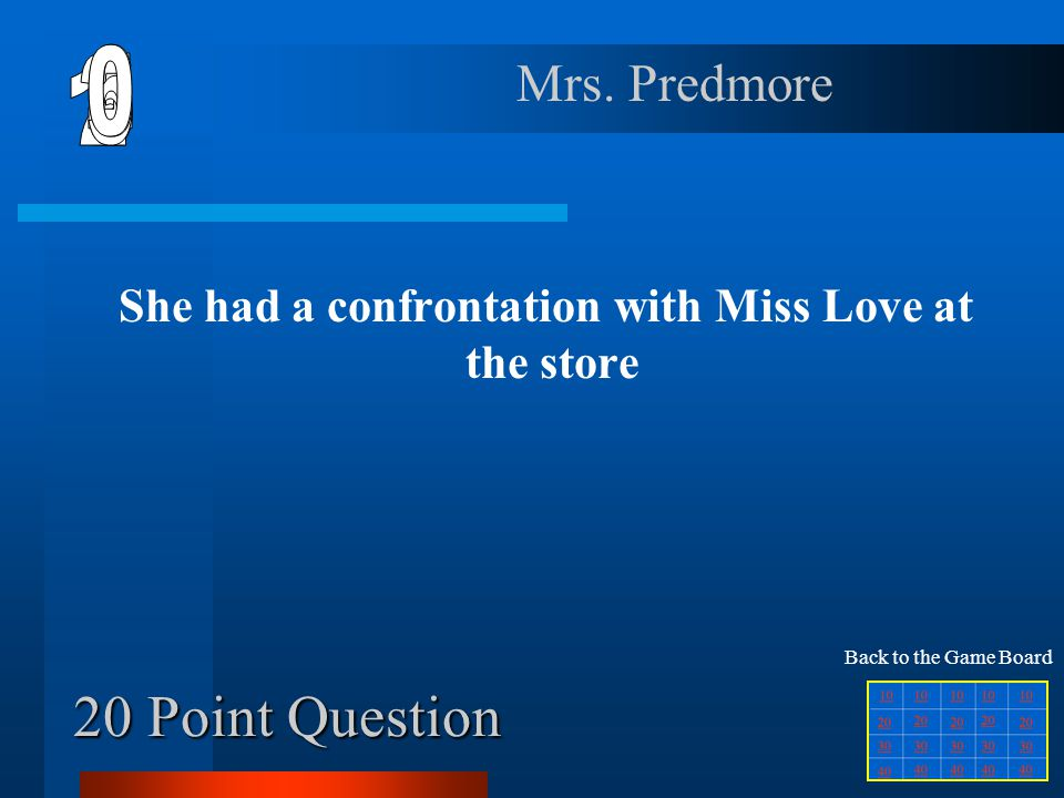 20 Point Question She had a confrontation with Miss Love at the store Mrs.