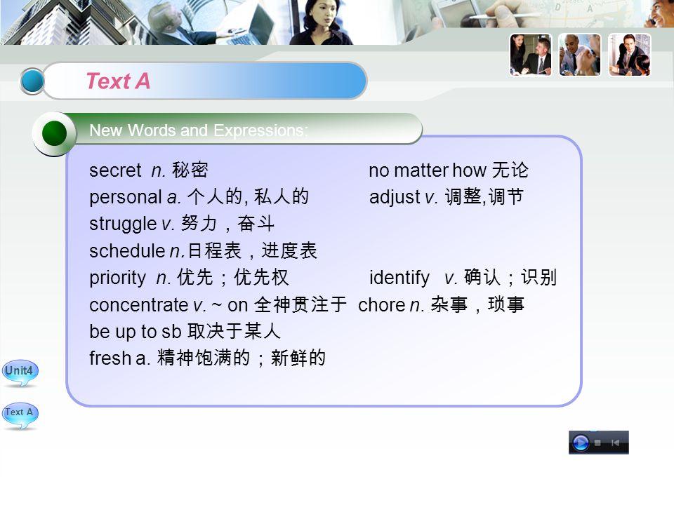 secret n. 秘密 no matter how 无论 personal a. 个人的, 私人的 adjust v.