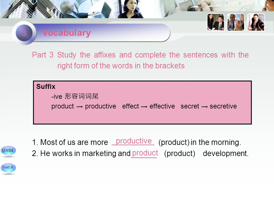 product productive Part 3 Study the affixes and complete the sentences with the right form of the words in the brackets 1.
