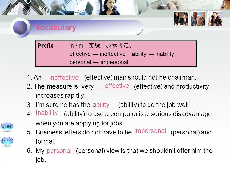 ineffective effective 1. An (effective) man should not be chairman.
