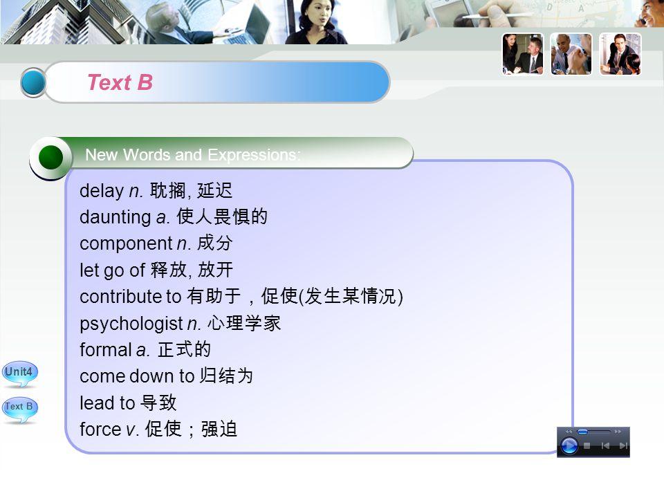 delay n. 耽搁, 延迟 daunting a. 使人畏惧的 component n.