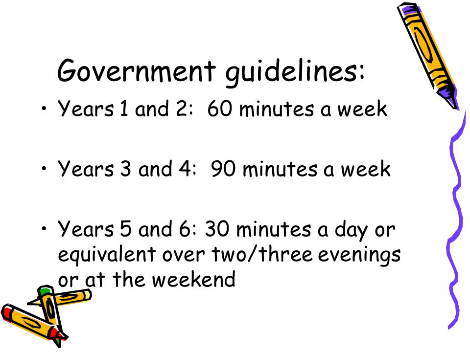 Government guidelines: Years 1 and 2: 60 minutes a week Years 3 and 4: 90 minutes a week Years 5 and 6: 30 minutes a day or equivalent over two/three evenings or at the weekend