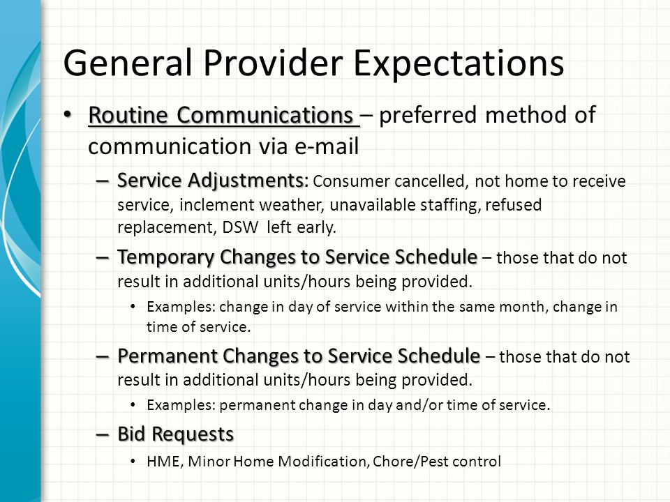 General Provider Expectations R/A Continuation Notification.