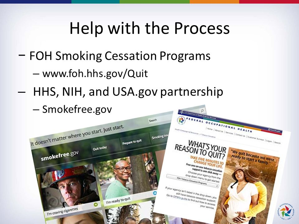 Help with the Process −FOH Smoking Cessation Programs – www.foh.hhs.gov/Quit – HHS, NIH, and USA.gov partnership – Smokefree.gov