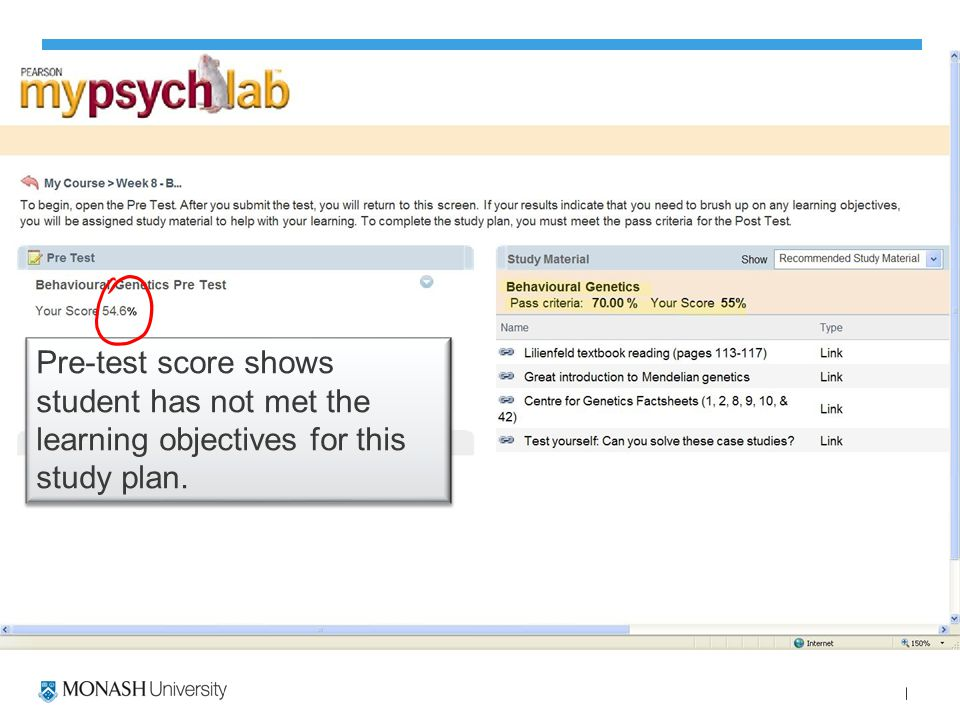 Pre-test score shows student has not met the learning objectives for this study plan.