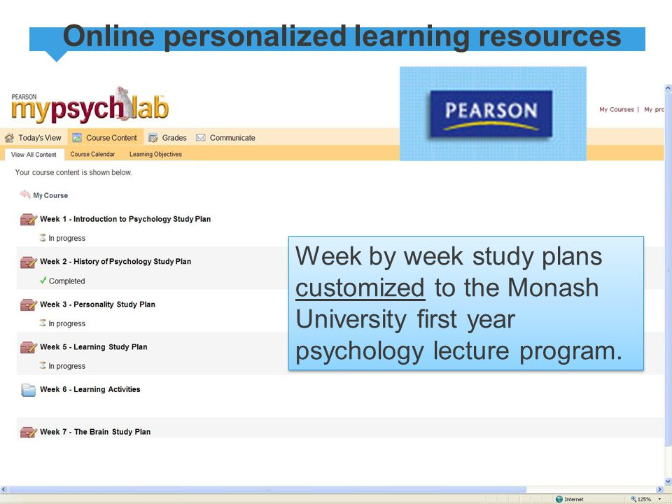 Online personalized learning resources Week by week study plans customized to the Monash University first year psychology lecture program.