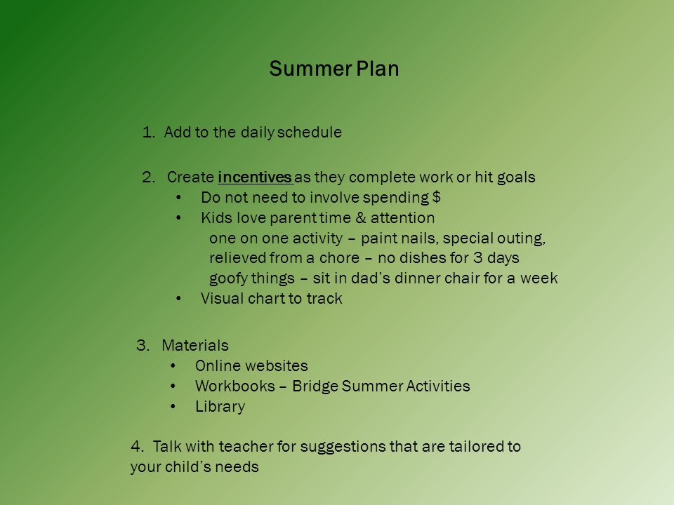 Summer Plan 1.
