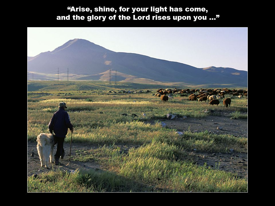 Arise, shine, for your light has come, and the glory of the Lord rises upon you …