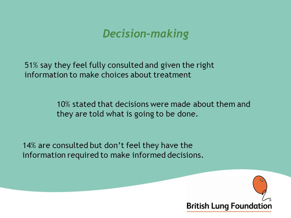 Decision-making 51% say they feel fully consulted and given the right information to make choices about treatment 10% stated that decisions were made about them and they are told what is going to be done.