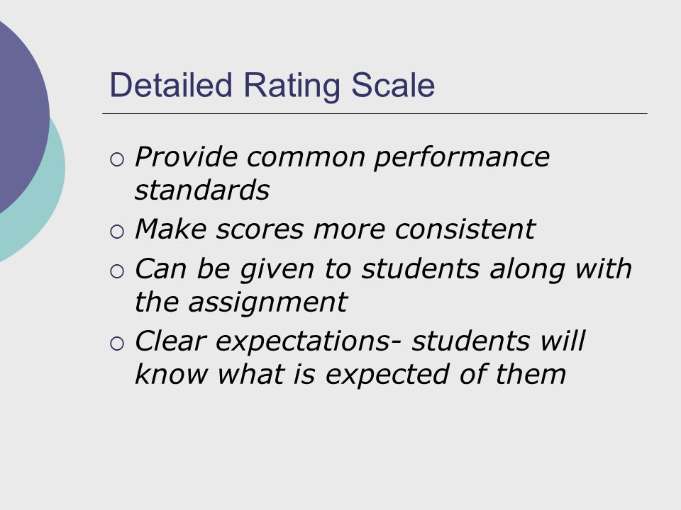 Detailed Rating Scale  Provide common performance standards  Make scores more consistent  Can be given to students along with the assignment  Clear expectations- students will know what is expected of them