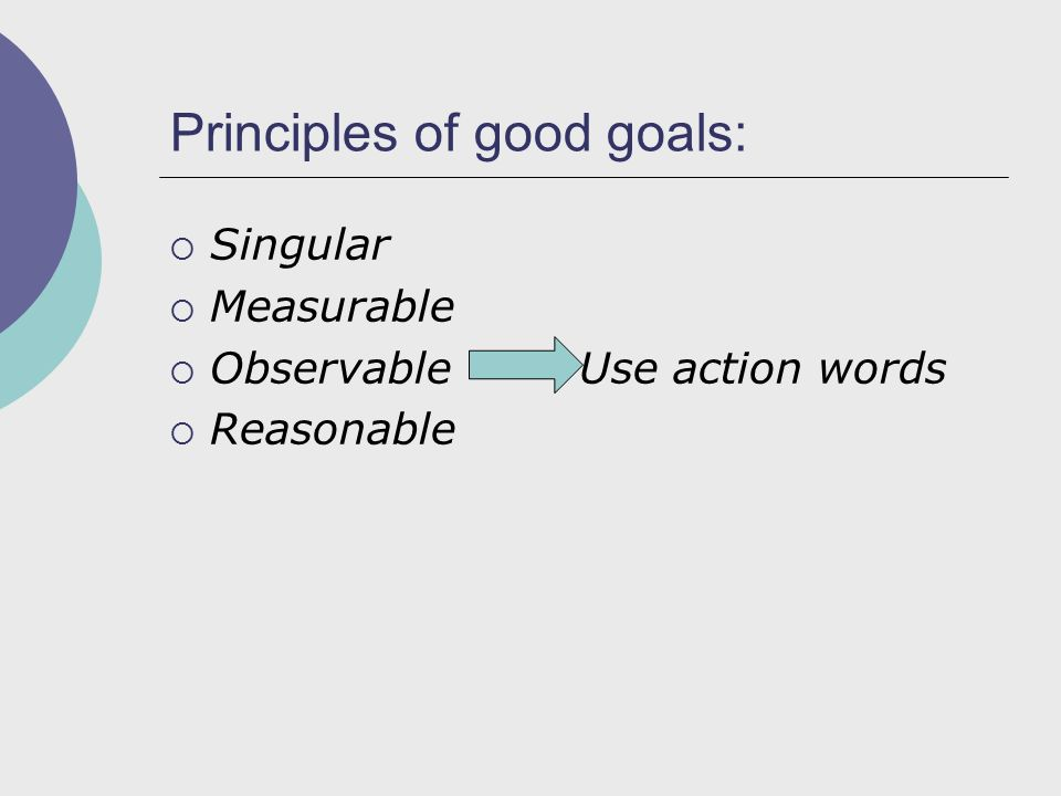 Principles of good goals:  Singular  Measurable  Observable Use action words  Reasonable