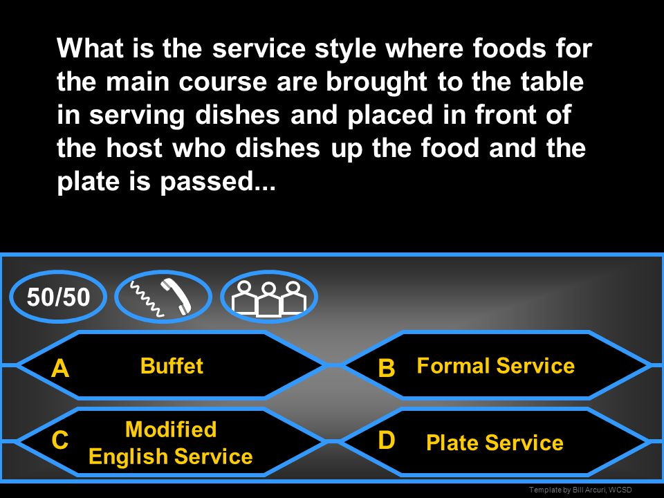 Template by Bill Arcuri, WCSD Old English Service What is the service style where the table is set with a space left on each spot for the plate and the food is portioned out on individual plates and brought to the table...