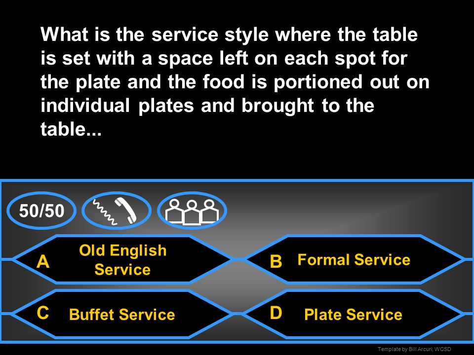 Template by Bill Arcuri, WCSD Family-Style Service What is the service style where the table is set with the necessary tableware and foods are placed in serving dishes and passed around the table...