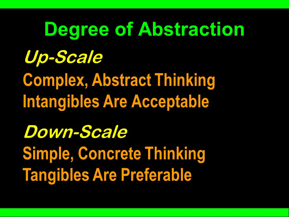 Degree of Abstraction Complex, Abstract Thinking Intangibles Are Acceptable Up-Scale Down-Scale Simple, Concrete Thinking Tangibles Are Preferable