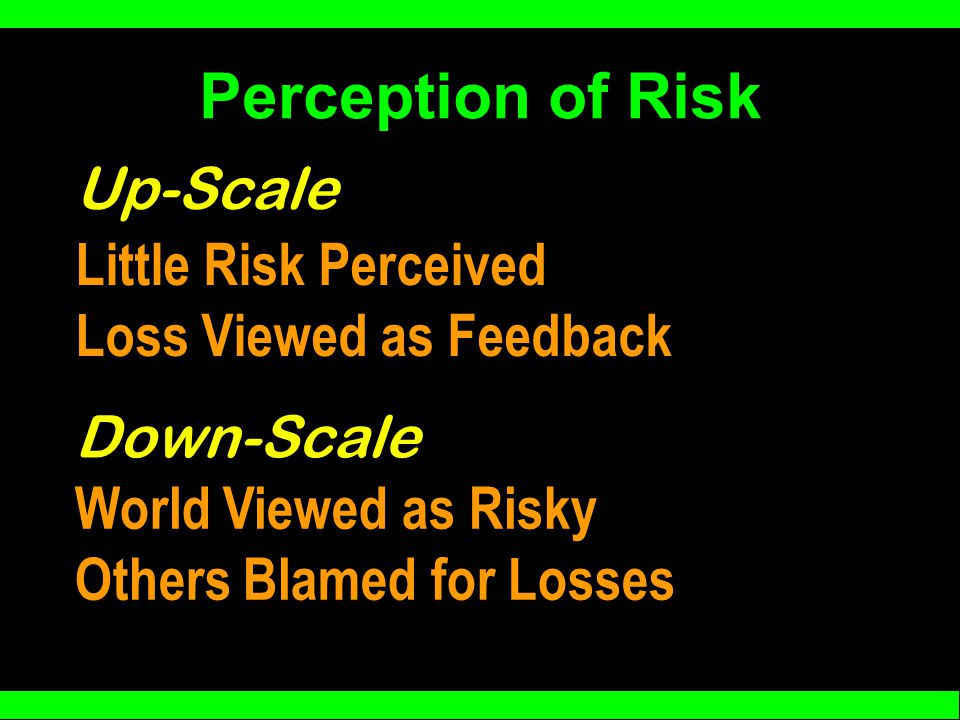 Perception of Risk Little Risk Perceived Loss Viewed as Feedback Up-Scale Down-Scale World Viewed as Risky Others Blamed for Losses