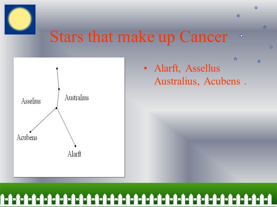 Stars that make up Cancer Alarft, Assellus Australius, Acubens.