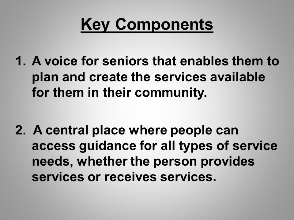 Key Components 1.A voice for seniors that enables them to plan and create the services available for them in their community.