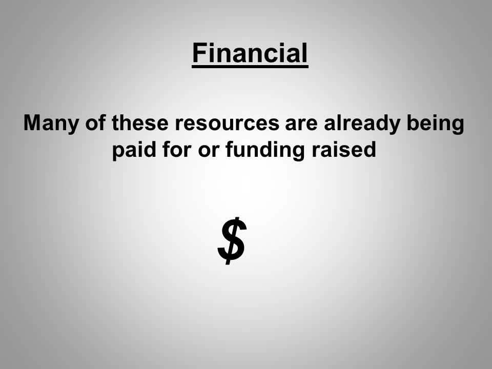 Financial Many of these resources are already being paid for or funding raised $