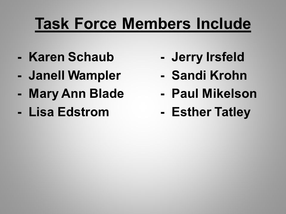 Task Force Members Include - Karen Schaub- Jerry Irsfeld - Janell Wampler- Sandi Krohn - Mary Ann Blade- Paul Mikelson - Lisa Edstrom- Esther Tatley