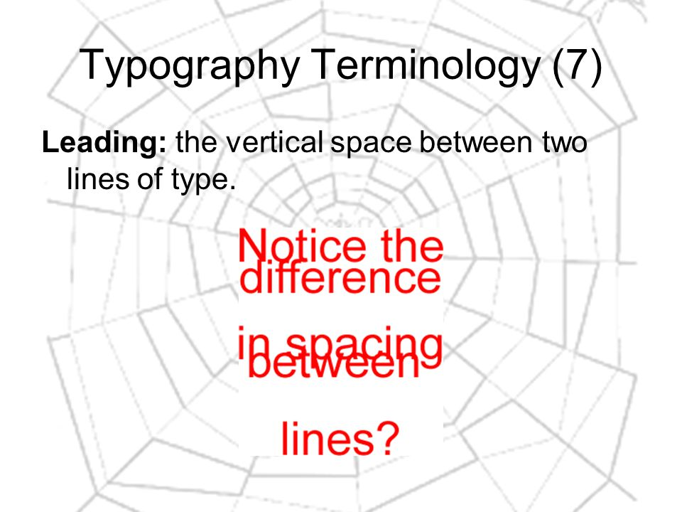 Typography Terminology (7) Leading: the vertical space between two lines of type.