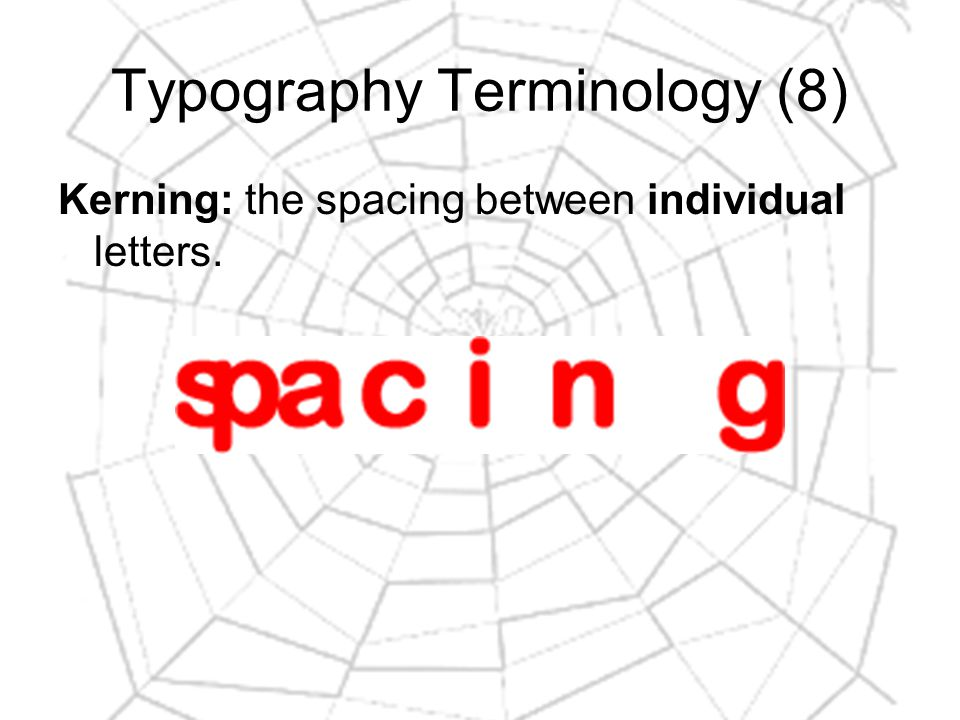 Typography Terminology (8) Kerning: the spacing between individual letters.