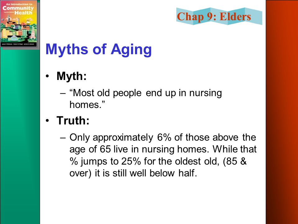 Chap 9: Elders Myths of Aging Myth: – Most old people end up in nursing homes. Truth: –Only approximately 6% of those above the age of 65 live in nursing homes.