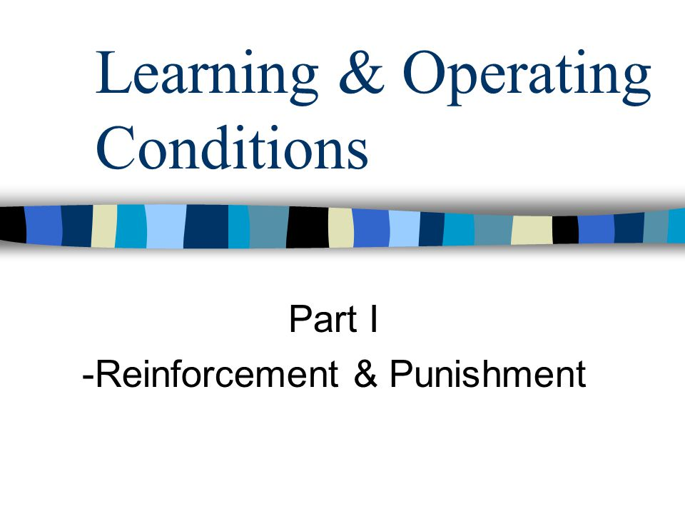 Learning & Operating Conditions Part I -Reinforcement & Punishment