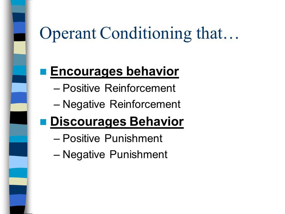 Operant Conditioning that… Encourages behavior –Positive Reinforcement –Negative Reinforcement Discourages Behavior –Positive Punishment –Negative Punishment