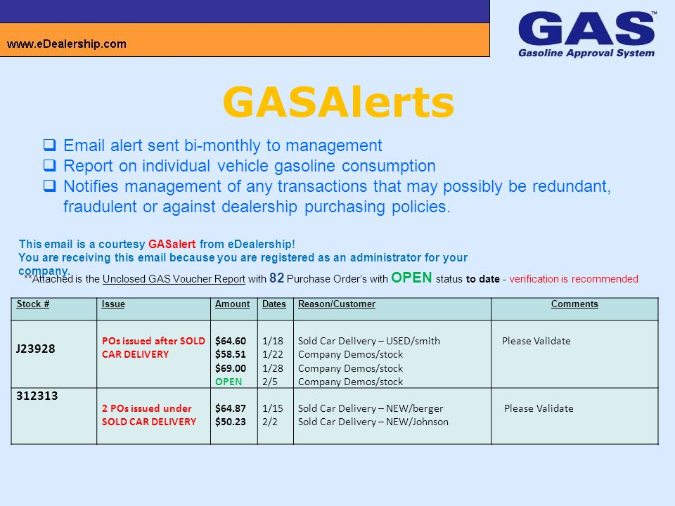 GASAlerts  Email alert sent bi-monthly to management  Report on individual vehicle gasoline consumption  Notifies management of any transactions that may possibly be redundant, fraudulent or against dealership purchasing policies.